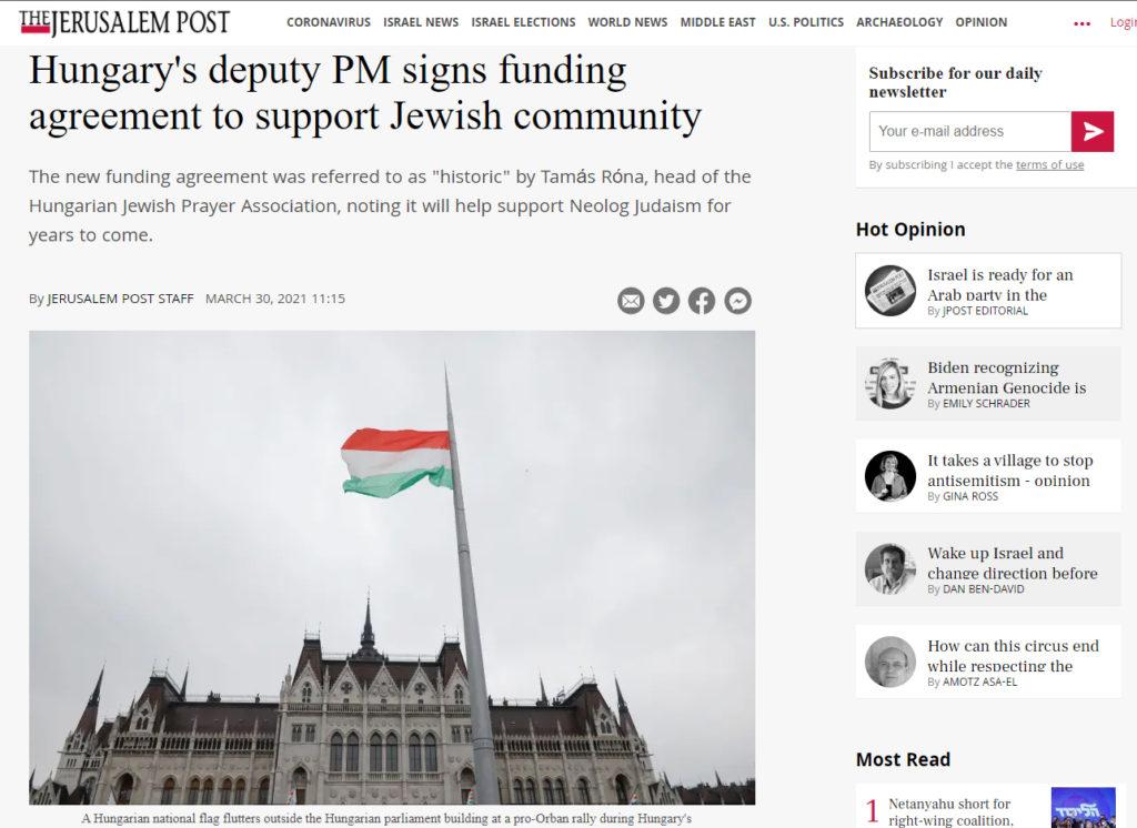 A ZSIMA a Jerusalem Post hasábjain is